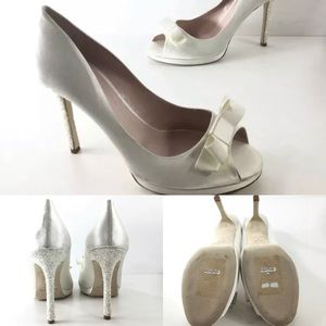 NEW Kate Spade Ivory Satin Glitter Heel Pumps 10.5